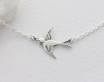 Silver Flying Bird Necklace on sterling silver chain, Small Bird Necklace, Dainty Delicate Jewelry,Bird Necklace . Everyday Wear,