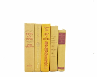 Buff Beige Books, Amber Yellow Decorative Books,  Old Book Decor, Shabby Chic Antique Book Set, Book Collection, PHoto PRops