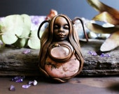 Rhodonite Wild Woman Necklace with Rose Quartz,  Handcrafted Clay and Gemstone Pendant.