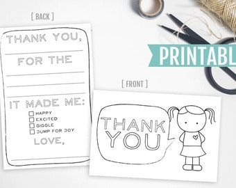 Kids Printable Thank You Card // Fill in the blank and color thank you cards for girls and boys