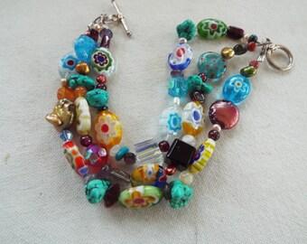 studio handmade multi mixed Murano glass millefiori 3 strand bracelet