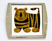 Kenneth Townsend Menagerie Tile, The Tiger,  Set in Stainless Steel Tray
