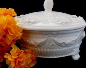 White Lidded Candy Dish, Italian Made, Nut Dish, Lidded Bowl, Kitchen