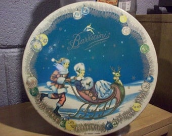 1953 BARRICINI CANDY TIN Box Christmas Winter Sleigh Ride Mid Century