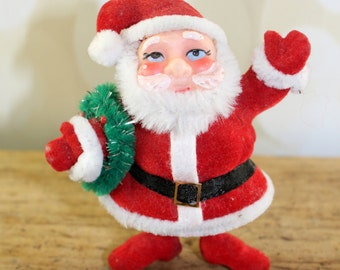 Flocked Santa Ornament, Mid Century, Vintage Christmas ornament, Retro Christmas, flocked santa, Vintage Santa Claus