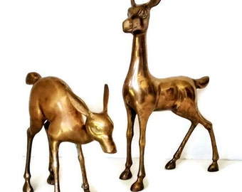 Vintage Brass Deer Figurines, Reindeer,Large Pair Deer Statues, Mid Century Modern,  Metal Art, Patina
