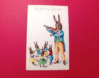 Vintage Anthropomorphic Fiddling Father Bunny & Bunny Children Dancing Easter Postcard - 1923 - from DustyMillerAntiques