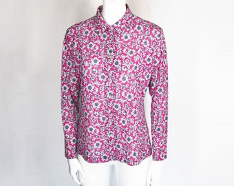 70s Groovy Floral Print Button Down Blouse Groovy Flower