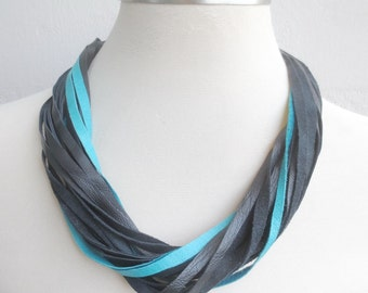 Black Turquoise Leather Necklace, String Layered Statement Necklace, Leather Jewelry
