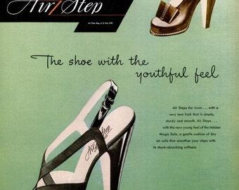 1946 Air Step Brown Shoe Company & Krene Plastic Product Ads Stilleto High Heels Fashion Art Ombré Green Closet Wall Decor Pumps Shoes Print