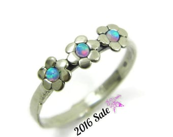 Opal flower sterling silver ring . birthday gift for her, gift ideas, every day rings, opal jewelry