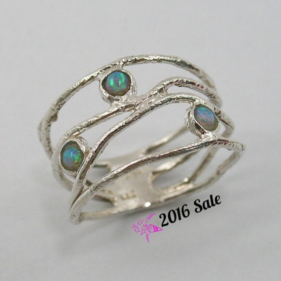 Opal ring. Sterling silver opal ring. wave ring (sr-9773-1129). birthday gift for sister wife girlfriend, opal ring