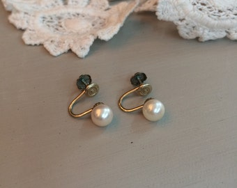 14k Gold Pearl Earrings Screwback