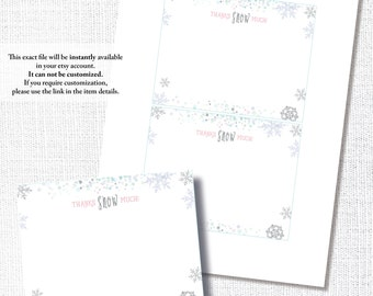 LITTLE SNOWFLAKE CONFETTI winter 1st first birthday thanks snow much thank you note card diy printable digital file instant download