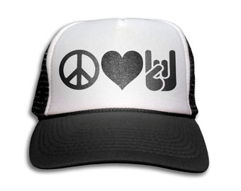 Trucker Cap - Peace Love And Rock n' Roll Trucker Hat - Snapback Mesh Cap