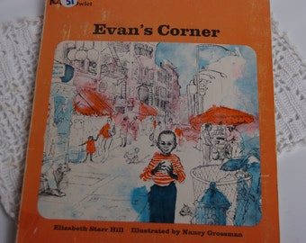 Children's 1967 Story Book . Evans Corner. Elizabeth Starr Hill. Childrens vintage story book