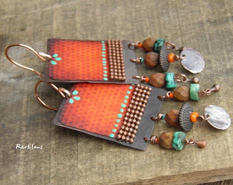 Bohemian Earrings-Grunge vintage earrings- exo-vintage earrings-orange print on patiné copper-orange and turquoise-blood orange-Sedona shade