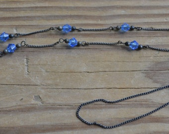 Amazing silver art deco flapper necklace with blue cut glass crystal drops / wedding bridal something blue / HFDYRI