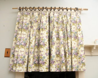 Vintage Roses Cafe Curtain Panels PAIR Blue Purple