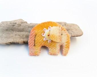 Yellow Elephant Pin, Wool Felt Elephant Brooch, Eco Friendly Brooch, Upcycled Jewellery, Repurposed Jewelry