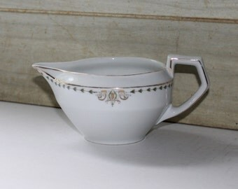 Heinrich H & C Selb Bavaria Gravy Dish Creamer - Vintage Germany - Electra - Collectibles - Gold Trim