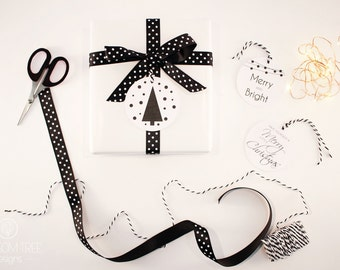 Christmas Tags: Set of 6 tags. Black and White gift tags.