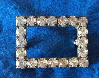 Vintage Rectangular Rhinestone Brooch Pin