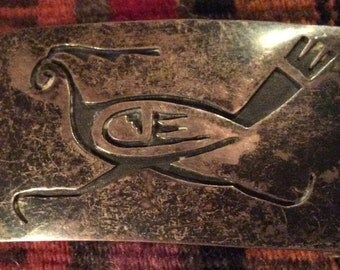 Old Native American Sterling Silver Hopi Overlay Roadrunner Belt Buckle