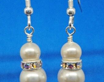 Swarovski Cream Rose Dream Dangle Earrings