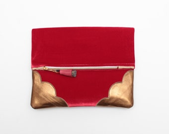 20% off TOUCH 26 / Red velvet & Natural leather folded clutch - Ready to Ship