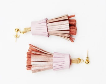 PINEAPPLE 50 / Layered natural leather statement tassel earrings - Ready to ship