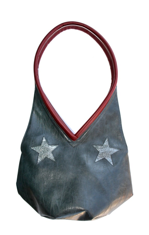 gun metal grey, distressed vinyl, stars, sparkle vinyl, tear drop, vegan leather, shoulder bag