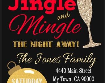 Jingle Mingle Christmas Gold Party invitation / Printable PDF / JPG /  Print at Home