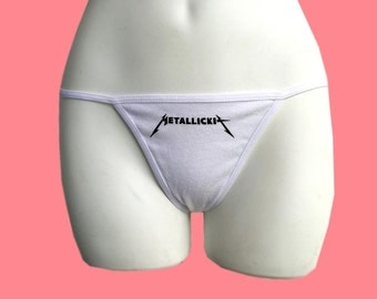 Metallickit not Metallica Thong, Choose Your Size, Black or White Options