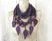 Art Knit infinity scarf necklace  , boho  knit loop , Hand Knitted wrap , Purple Black , Bohemian clothing , Gypsy shawl , rope wool felt