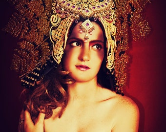 Huge Ornate Gold Bollywood corded Showgirl wide headpiece crown,fascinator fashion accessory hat