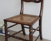 Antique Chair - Antique 19th Century Mahogany Cane Rattan Seat Chair - Bedroom, Kitchen, Living Room, Dining Room