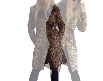 Woman's coat ,uniquely designed high collar Leopard print  lightweight Parka, Long autumn or spring Overcoat Women Down Filled jacket