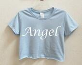 Angel Graphic Print Women's Crop Shirt S-3xl