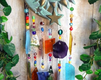 Sunface and Stars Turquoise and Gold Windchime with Stained Glass Chimes