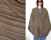 Reserved For Clo231 Vintage Southwest Cape Earth Tone Wool Cape 60's 70's Cape 80's Cape Minimalist Woven Blanket Boho Cape Hippie Poncho