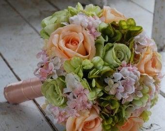 Silk bridal bouquet, peach roses, green roses, green gerbera daisies, pink, peach, green hydrangeas