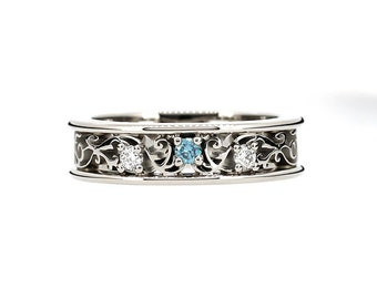 Blue and white diamond filigree ring, white gold, blue diamond engagement ring, filigree ring, diamond wedding, unique engagement, diamond