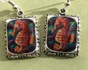 Seahorse Earrings Sea Horse Ocean Jewelry Silver 3D Dimensional Picture Square