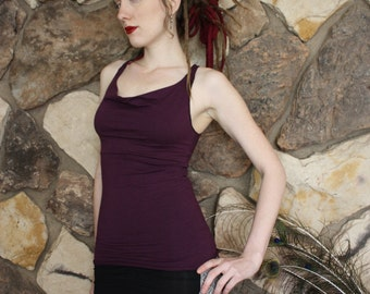Organic Cowl Tank Top Full Length in Amethyst Purple, Goddess Couture, Back Weave, Bamboo Goodness, Festival Lover, Burner Beauty, Playa