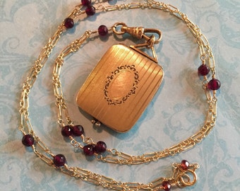 Antique Locket, Tri-Fold Locket with Stripes and Floral Cartouche, Garnet Chain, Gift for Her