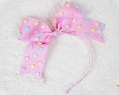 Kawaii Hair Bow, Pink Headband, fairy kei, Pastel Bow, Decoden Hair Clip, Pastel Star, Gift under 20, Pastel Goth, harajuku, Pop Kei, Lolita