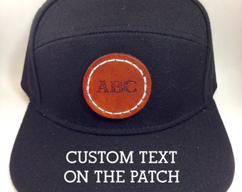 Custom Personalized Snap Back Baseball Hat Cap with Leather Patch, Snapback One size fits all Black hat