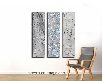 Silver Metallic Abstract Paintings / CUSTOM 3 set Painting / 48 inch x 12 inch / Blue, white, Steel, silver, Iron, Rusted metal Painting