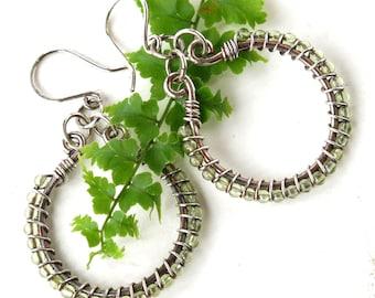 Peridot sterling silver hoops green August birthstone earrings